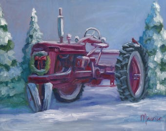 Farmall Fresh snow, original art, oil painting, landscape art, landscape