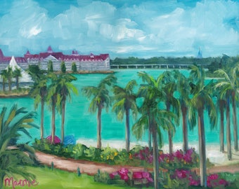 The view from the poly, oil painting, landscape painting, magic kingdom, original art,