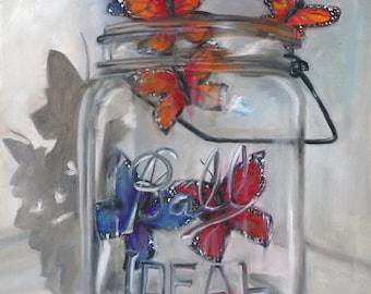 Jar of Hope, print of an oil painting, butterflies, mason jar, hope, canning jar, kitchen art, prints, original art