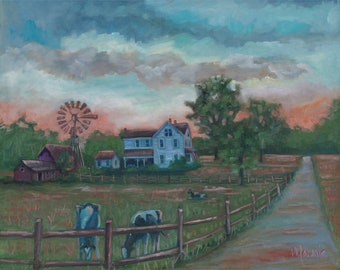 Day is done, country art, rural art, new england art, ready to hang, oil painting, original art