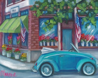 Making someones day, country art, new england art, ready to hang, oil painting, original art, city scape