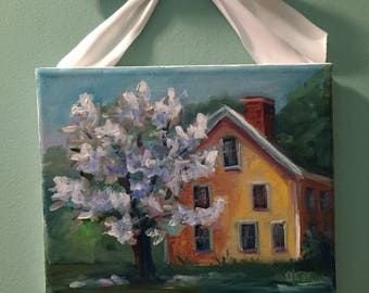 Spring at Roper House, painting,landscape, country art, ready to hang
