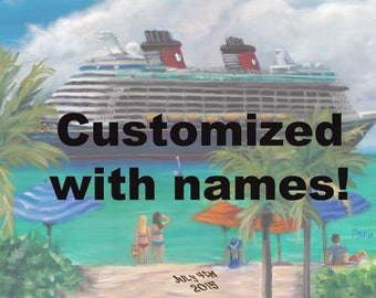 Ride to Paradise, Fantasy, a print of an oil painting of Disney's Cruise ship Fantasy, castaway cay, disney cruise ship, custom