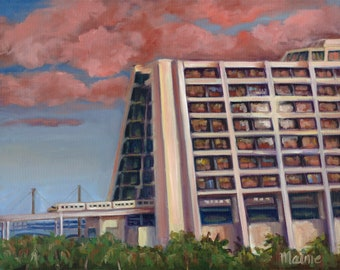 Golden hour at the contemporary, oil painting, landscape painting, magic kingdom, original art,