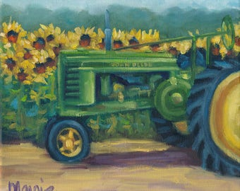 John Deere Summer, painting,landscape, country art, ready to hang, americana