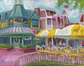 Don't forget me, oil painting, landscape painting, magic kingdom, original art, balloon