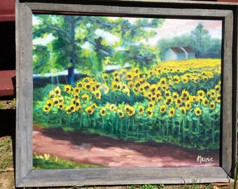Morning light at Buttonwoods, oil painting, cottage chic, original art, country art, floral landscape, sunflower art, sunflower