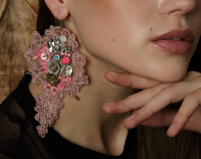 Featured listing image: Pink statement lace earrings with crystals and flowers