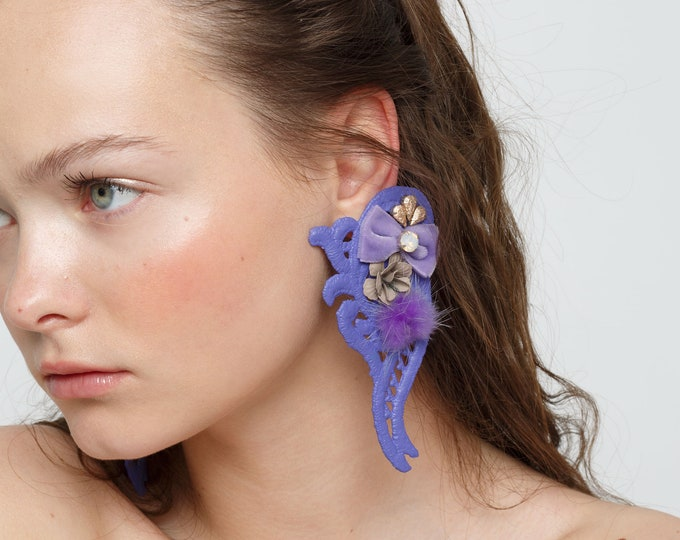 Featured listing image: Statement lavender clip-on earrings with fur