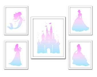 Disney Princess art, Disney princess print set, pink aqua princess silhouette set, castle, Cinderella, Belle, Snow White, Sleeping Beauty