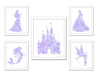 Soft purple princess set, lavender princess art set, Disney princess print set, light purple princess silhouette, castle, Cinderella, Ariel