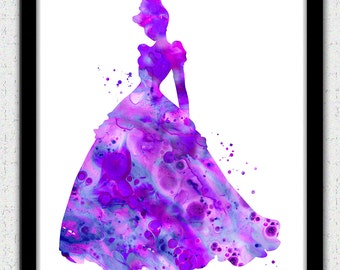 Purple Cinderella print, Disney princess, princess painting print, princess watercolor print, purple princess, purple Cinderella silhouette