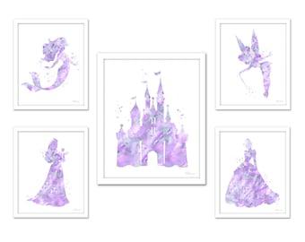Soft purple gray princess set, lavender princess art set, Disney princess print set light purple princess silhouette castle Cinderella Ariel