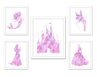 Soft pink gray Princess wall art, Disney princess print, light pink gray princess print set, castle, Cinderella, Little Mermaid, Tinkerbell