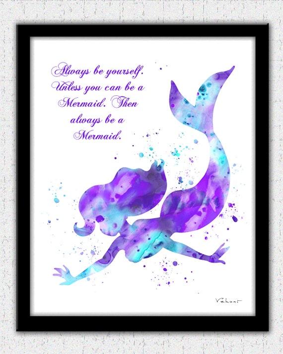 Aqua Lavender Mermaid Art Print With A Quote Ariel
