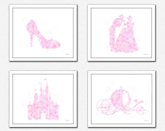 Pink Princess art, Disney princess print, light pink princess set, soft pink Cinderella silhouette, slipper,pumpkin carriage,Prince Charming