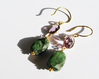 Queen amethyst and emerald earrings