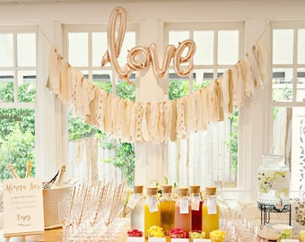 Blush Pink Gold Fabric Bunting Rag Tie Garland, Pink Gold Wedding Bunting Banner, Blush Gold Photo Prop, Pink Gold Wedding Engagement Party