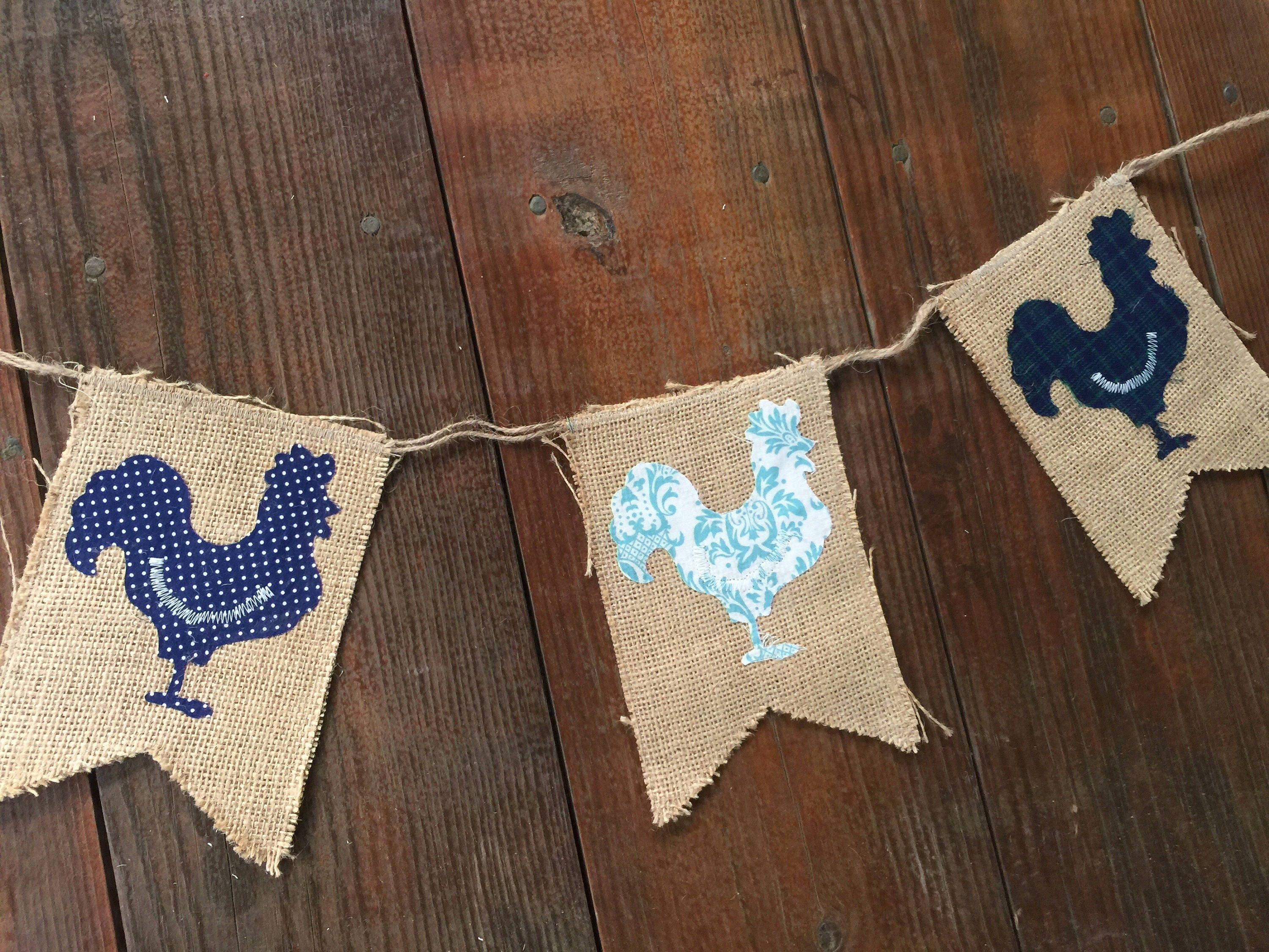 Chicken banner country bunting vintage chicken burlap farm etsy