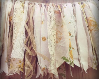 Vintage Cream Yellow Rag Tie Garland Boho Fabric Bunting Photo Backdrop Prop Wedding Engagement Birthday Baby Shower Cream Yellow Goldenrod