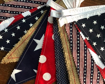 Fourth of July Banner USA Nautical Fabric Bunting Flags Pennants Garland 4th of July Party Decoration Summer Photo Prop Red White & Blue