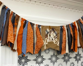 GATHER FALL BANNER Fall Home Decor Fall Mantel Swag Autumnal Rag Tie Garland Fabric Banner Shades of Brown Fall Photo Prop Cream Gray Blush