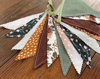 Fall Floral Banner Bridal Baby Shower Warm Woodland Nursery Banner Fabric Bunting Floral Banner Garland Pennants Birthday Party Banner