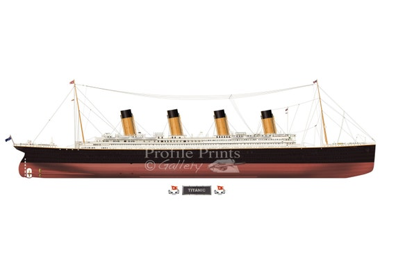 Rms Titanic 1912 Profile Artwork A4 Glossy Print British Etsy