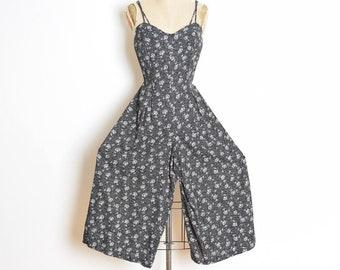 vintage 90s jumpsuit, wide leg jumpsuit, 90s pantsuit, 90s clothing, floral print jumpsuit one piece outfit black and white palazzo jumpsuit