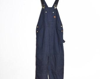 225184f8e13 vintage 90s Carhartt bib overalls navy twill worker engineer pants jumpsuit  XL 42x30
