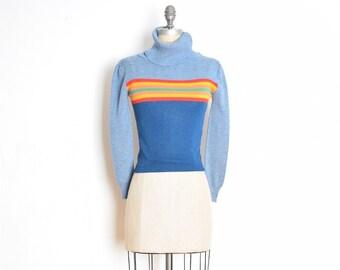 59aa96e7c vintage 70s sweater top blue rainbow stripe print turtleneck shirt jumper XS