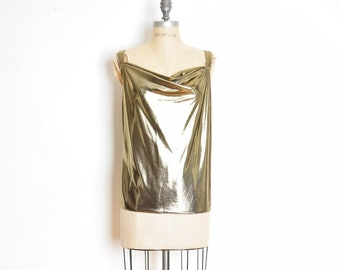 1622730493c44 vintage 80s top metallic gold liquid draped disco tank top shirt blouse L  large clothing