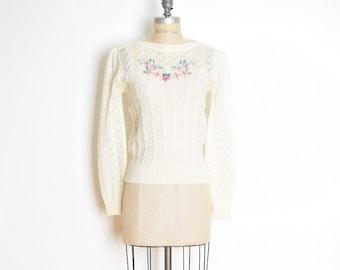 fc12647699 vintage 70s sweater cream pointelle crochet floral puff sleeve jumper top  shirt S M small medium