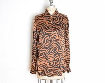 d928f412e0c2 vintage 90s silk shirt brown black tiger animal print blouse top button up L