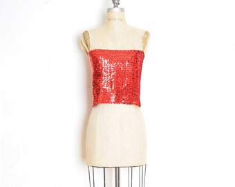 8f25610fe9 vintage 70s top red sequin disco tube top strapless shirt blouse M medium