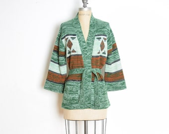 vintage 70s sweater, 70s cardigan, hippie sweater, boho sweater, 70s jumper, space dyed sweater, green sweater, wrap cardigan, 70s clothing