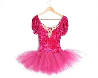ballet costume, halloween costume, vintage costume, crushed velvet, tulle tutu, ballet dress, velvet dress, fuchsia purple, ballet leotard