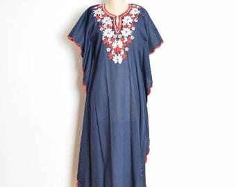 vintage 60s 70s dress, 70s caftan dress, 60s hippie dress, long dress, 60s caftan, embroidered dress 70s maxi dress, boho dress floral dress