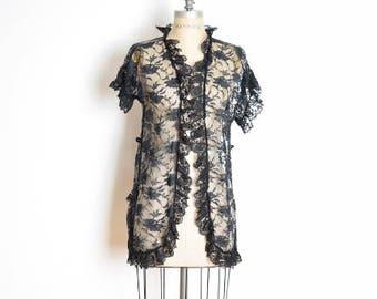 vintage lace jacket, fredericks of, hollywood lingerie, black lace jacket, 80s lingerie, 80s bed jacket, sheer jacket, lingerie top