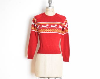 vintage 70s sweater, reindeer sweater, deer sweater, 70s jumper, 70s top, 70s shirt, burgundy sweater, 70s clothing, nordic sweater, XS