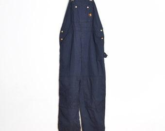 b685ad9981 vintage 90s Carhartt bib overalls navy twill worker engineer pants jumpsuit  XL 42x30