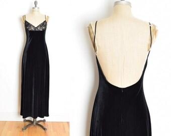 44fba332e9 vintage 90s dress LAUNDRY black velvet illusion lace backless long prom  dress gown M clothing