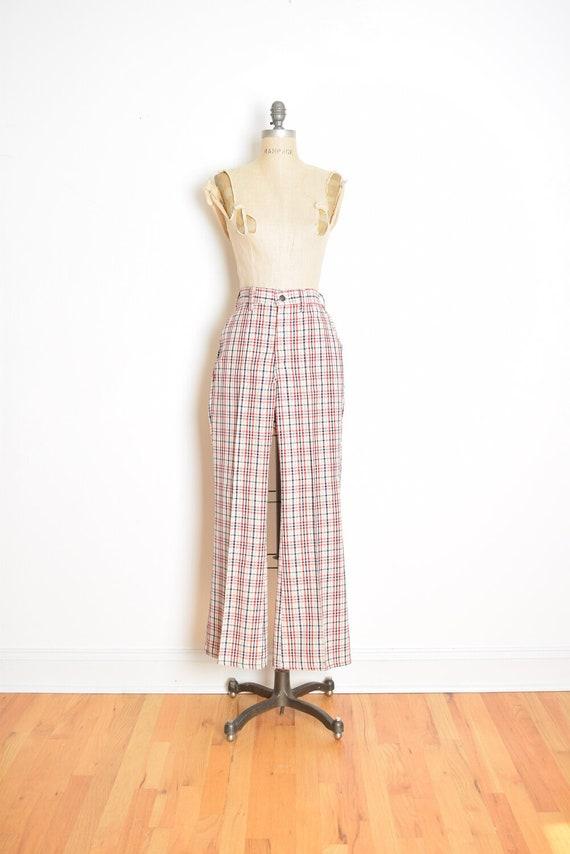 vintage 70s LEVIS plaid pants printed high waist f