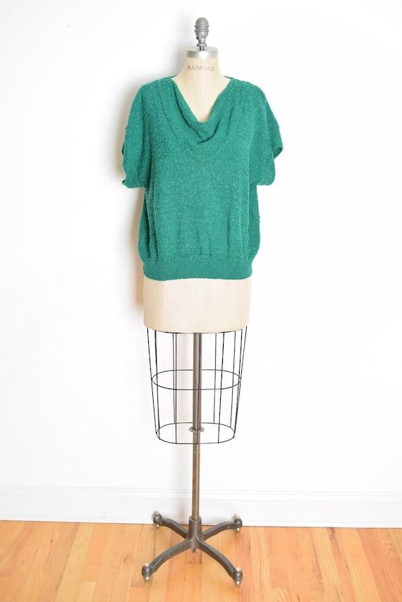vintage 80s sweater green popcorn knit draped slee