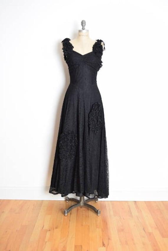 vintage 30s dress, 30s evening gown, black lace dr