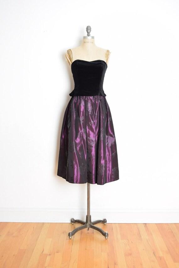 vintage 90s Laura Ashley dress velvet taffeta str… - image 1