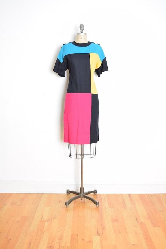 vintage 80s dress black color block mondrian geome