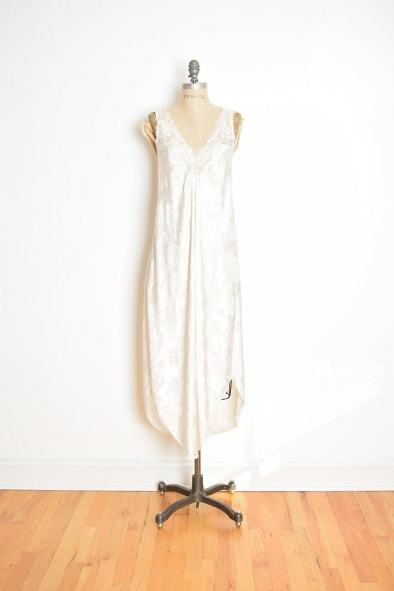 vintage 80s nightgown Christian Dior cream floral