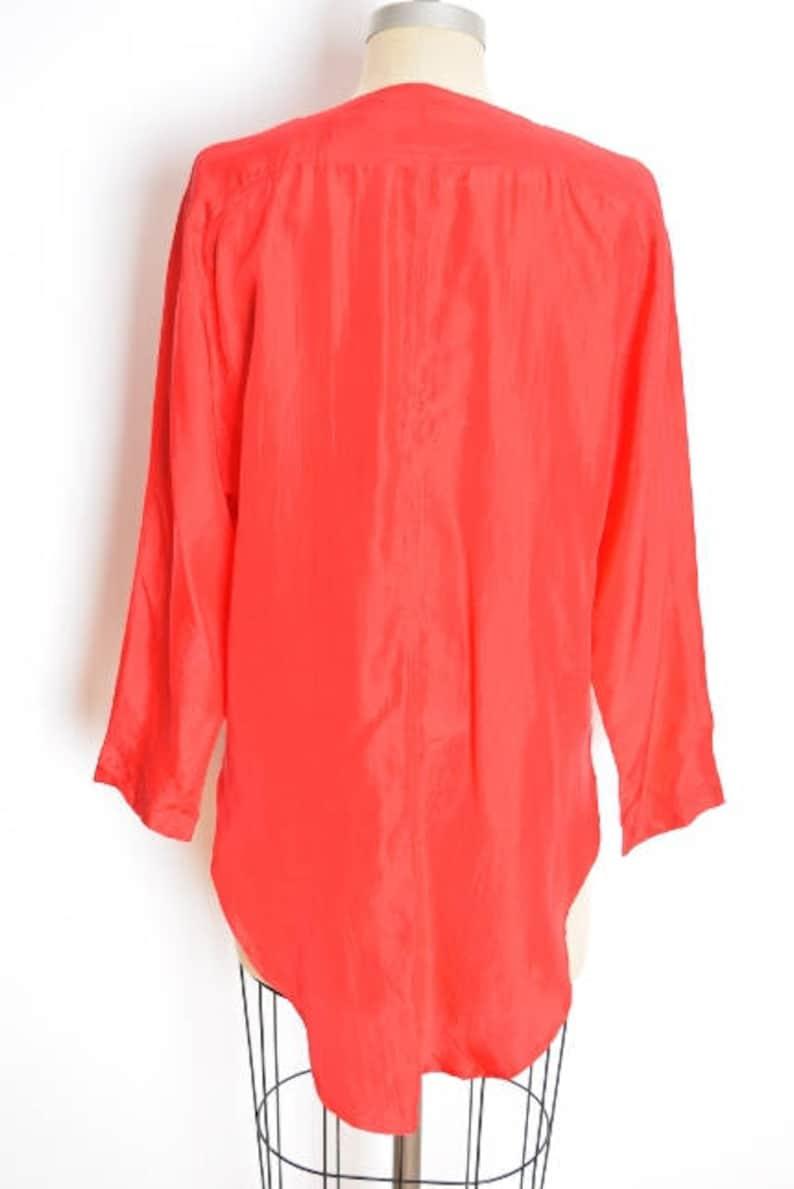 90s clothing red silk shirt basic silk top 90s silk shirt simple silk top button up shirt fishtail hem over sized shirt vintage 90s top