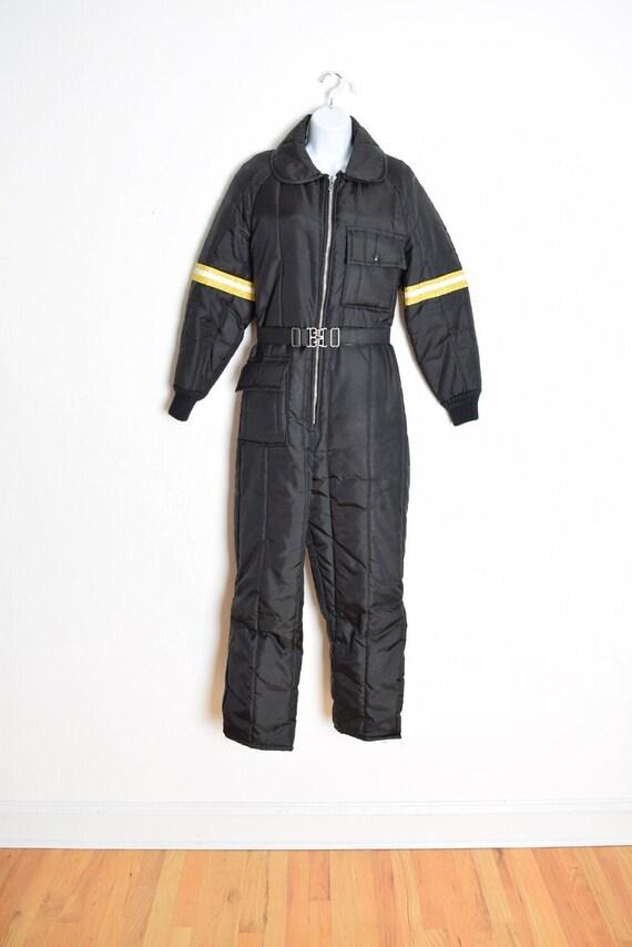 vintage 70s snowsuit jumpsuit black nylon parka ro